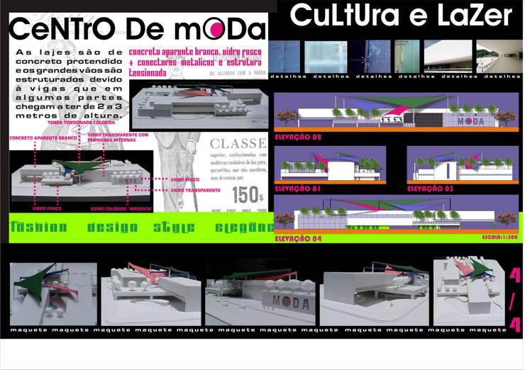 Fachadas - maquete - Centro de Moda, Cultura e Lazer:   por Arquitetura Ecológica,