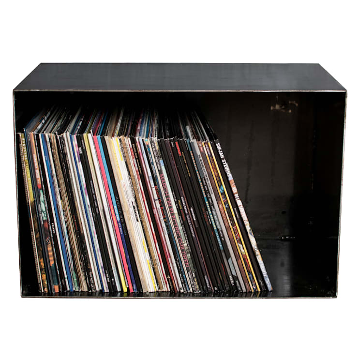 vinyl schallplatten regal lp rack f r 100 lps 4mm stahl industrie design rohstahl. Black Bedroom Furniture Sets. Home Design Ideas