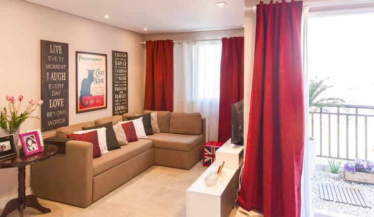 Apartamento Single - São Paulo - Brasil: Salas de estar  por Dunder Koch Arquitetura