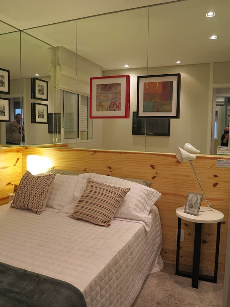 Decorado 49m²: Quartos  por Fabiana Rosello Arquitetura e Interiores