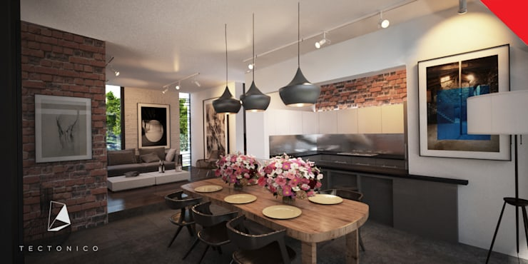 Town Houses Zibatá: Comedores de estilo  por Tectónico