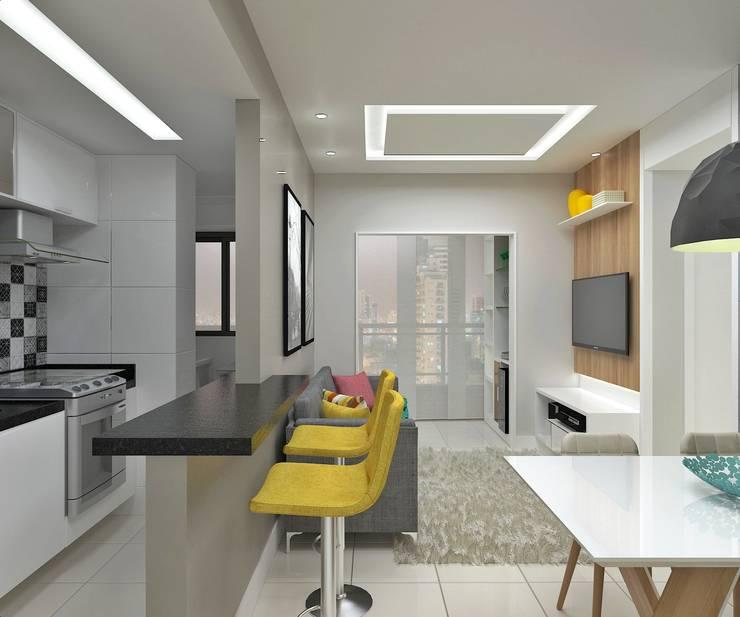 Sala de Estar/Jantar: Salas de estar  por Marcos Assmar Arquitetura | Paisagismo,Moderno