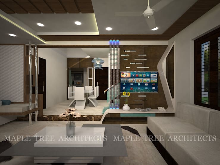 Mr.Rajesh Residence: modern Living room by MAPLE TREE