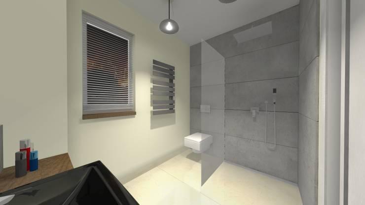 """<q class=""""-first"""">Beton Architektoniczny</q>- Piękno w Prostocie : styl , w kategorii Łazienka zaprojektowany przez Kamienie Naturalne Chrobak"""