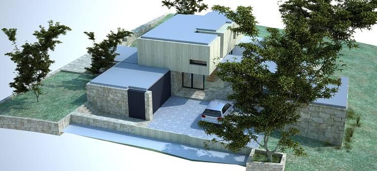 Vista aérea - alçado principal e alçado lateral direito:   por Davide Domingues Arquitecto