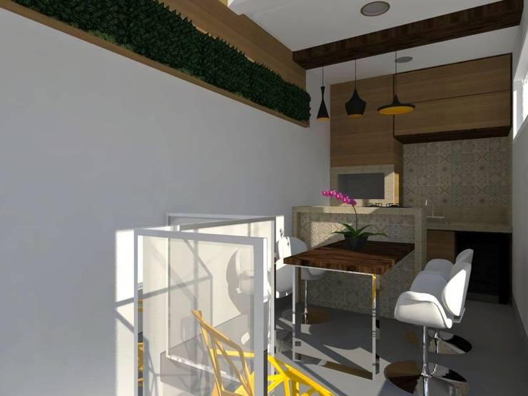 Espaço Churrasqueira SA: Garagens e edículas rústicas por Nádia Catarino - Arquitetura e Design de Interiores