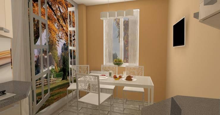 Kuchnia w bloku wersja 2: styl , w kategorii  zaprojektowany przez WIZJA WNĘTRZA - projekty i aranżacje