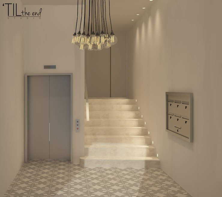 Residential Building in Lisbon: Corredores e halls de entrada  por Lagom studio,Moderno Azulejo