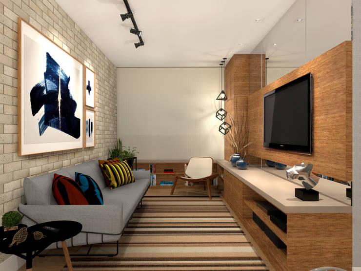 Salas de estar  por Konverto Interiores + Arquitetura