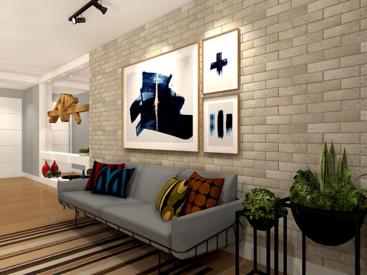 Apartamento Barra da Tijuca – RJ: Salas de estar  por Konverto Interiores + Arquitetura