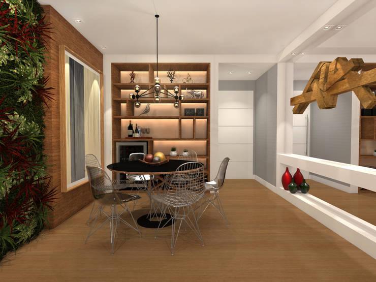 Apartamento Barra da Tijuca – RJ: Salas de jantar  por Konverto Interiores + Arquitetura