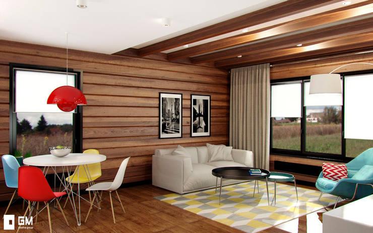 Гостевой домик с гаражом: Гостиная в . Автор – GM-interior