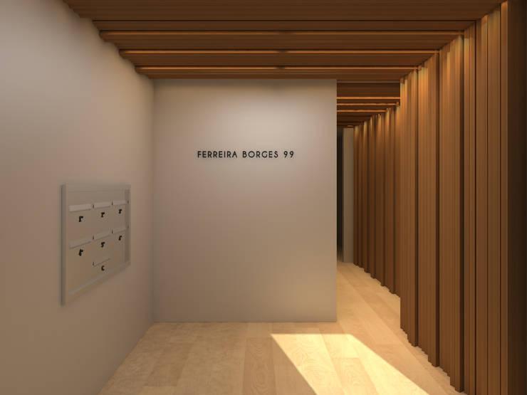 Residential building in Lisbon 2: Corredores e halls de entrada  por Lagom studio