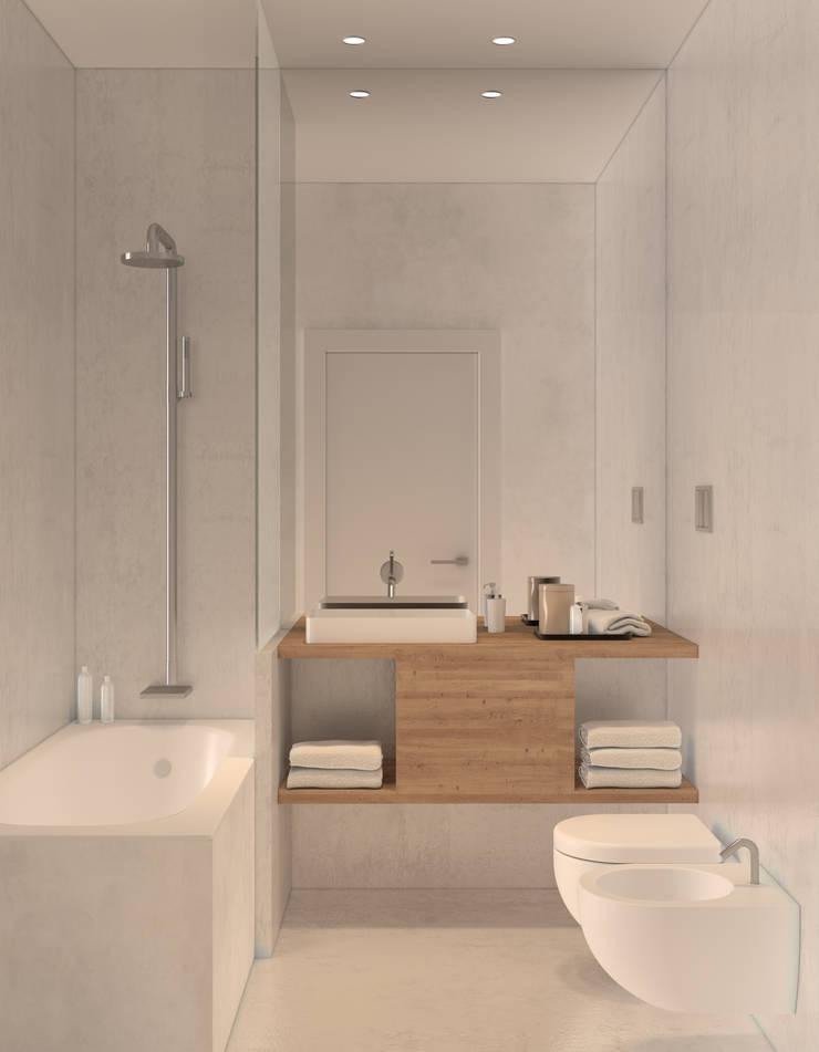 Residential building in Lisbon 2: Casas de banho  por Lagom studio