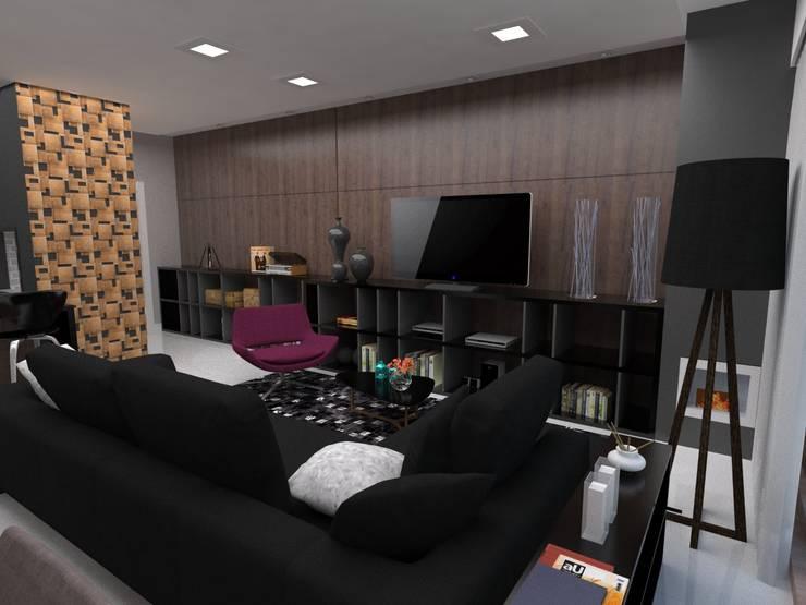 Projeto de Interiores _APTO 01: Sala de estar  por Cíntia Schirmer | Estúdio de Arquitetura e Urbanismo