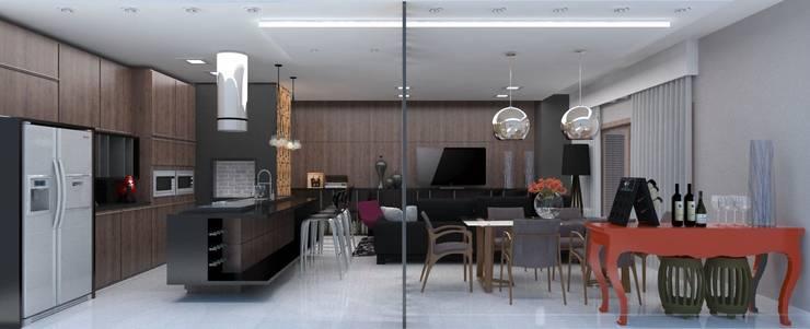 Projeto de Interiores _APTO 01: Sala de jantar  por Cíntia Schirmer | Estúdio de Arquitetura e Urbanismo