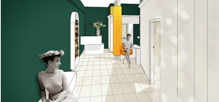 Wizualizacja - hol wejściowy, mini poczekalnia, recepcja: styl , w kategorii Kliniki zaprojektowany przez KOLORAMA