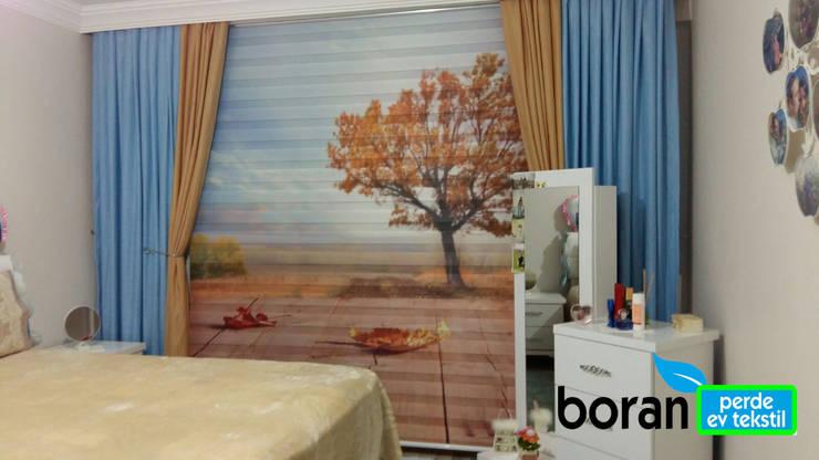 Boran Perde – Yatak Odası Twin Zebra Perde:  tarz Pencere & Kapılar