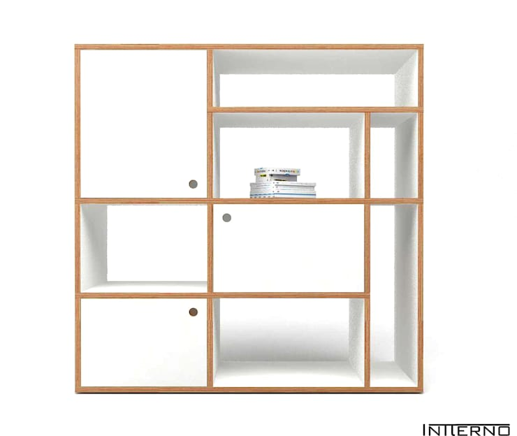 PÓŁKA ZE SKLEJKI, REGAŁ NA KSIĄŻKI R9, szafka ze sklejki: styl , w kategorii Salon zaprojektowany przez Intterno