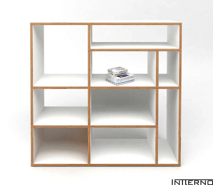 PÓŁKA ZE SKLEJKI, REGAŁ NA KSIĄŻKI R9 , szafka ze sklejki: styl , w kategorii Salon zaprojektowany przez Intterno