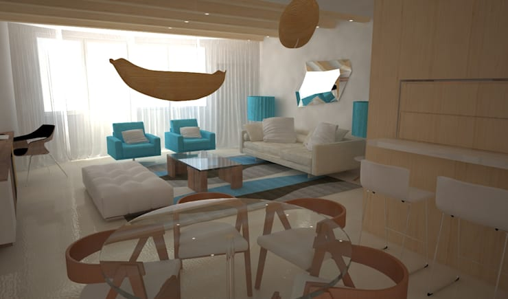 Decoração e arquitectura de interiores em apartamento, Botafogo, Rio de Janeiro, Portugal: Sala de estar  por Sara Santos Arquitecta