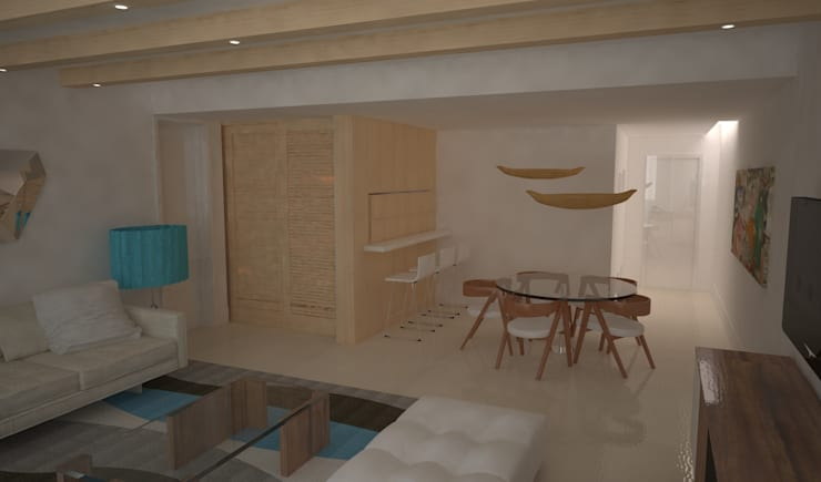 Decoração e arquitectura de interiores em apartamento, Botafogo, Rio de Janeiro, Portugal: Sala de jantar  por Sara Santos Arquitecta