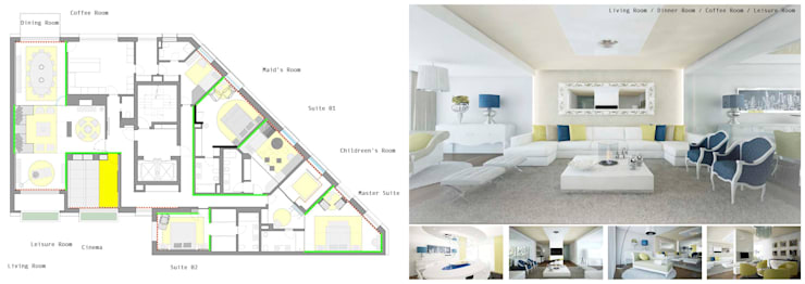 Arquitectura de interiores apartamento, Praça de Espanha, Portugal: Salas de estar  por Sara Santos Arquitecta