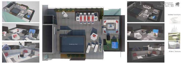 Mobiliário Vondom e tecidos Aldeco: Varanda, marquise e terraço  por Sara Santos Arquitecta