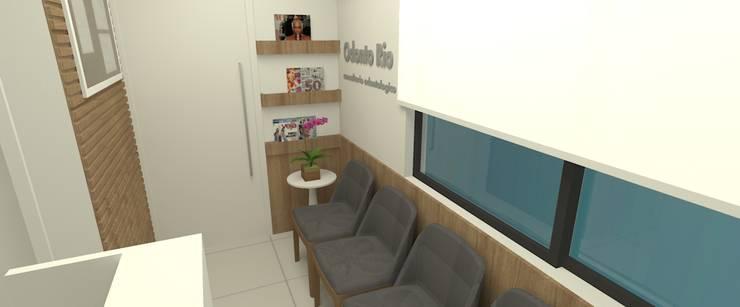 Recepção clínica de dentista:   por Carolina Mendonça Projetos de Arquitetura e Interiores LTDA