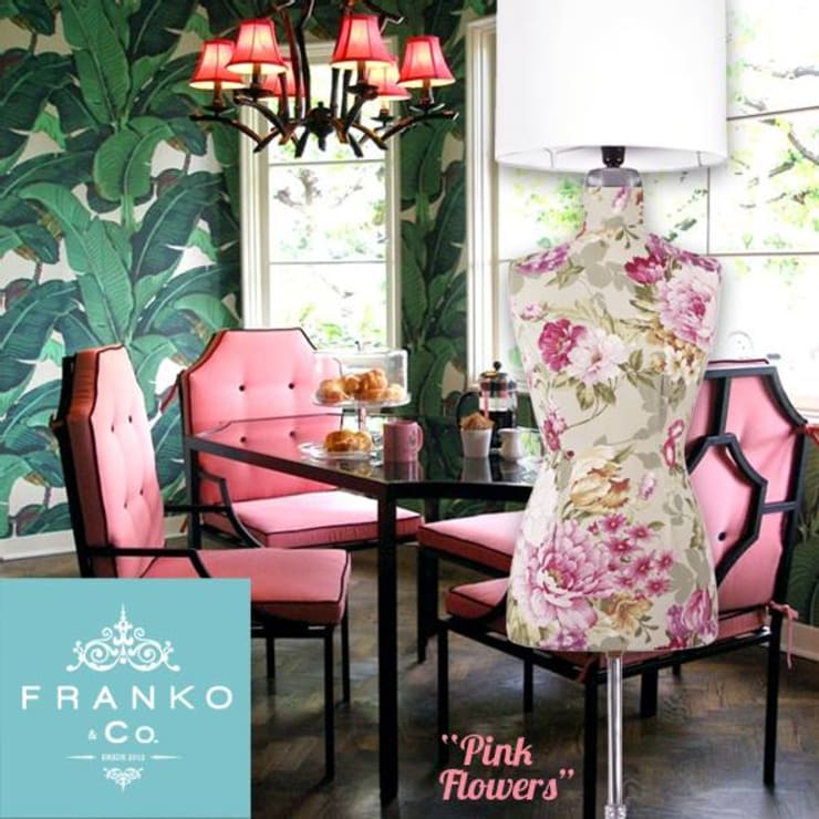 Lámpara maniquí Pink Soft Flowers: Comedores de estilo  por Franko & Co.