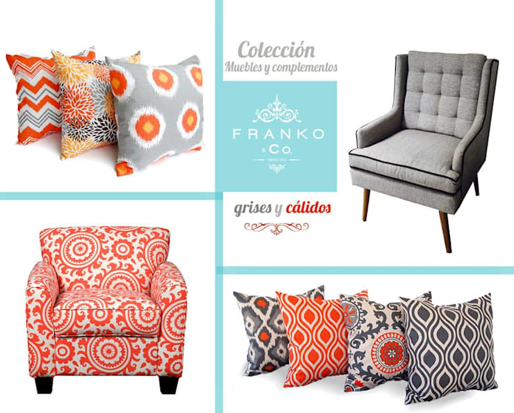 Cojines Gray & Orange: Hogar de estilo  por Franko & Co.