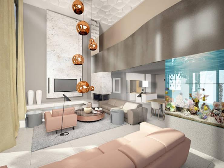 Wizualizacja pokoju dziennego w budynku jednorodzinnym : styl , w kategorii Salon zaprojektowany przez KOLORAMA,Nowoczesny