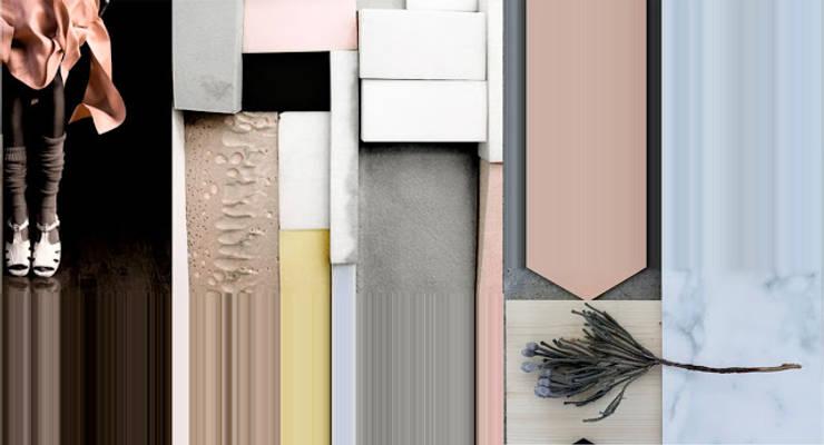 Moodboard do projektu pokoju dziennego w budynku jednorodzinnym : styl , w kategorii Salon zaprojektowany przez KOLORAMA,Nowoczesny