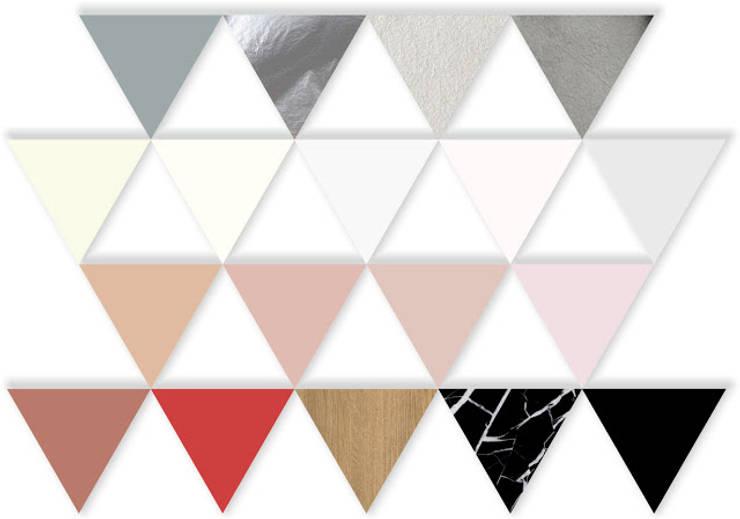 Paleta kolorystyczna do projektu pokoju dziennego w budynku jednorodzinnym : styl , w kategorii Salon zaprojektowany przez KOLORAMA,Nowoczesny