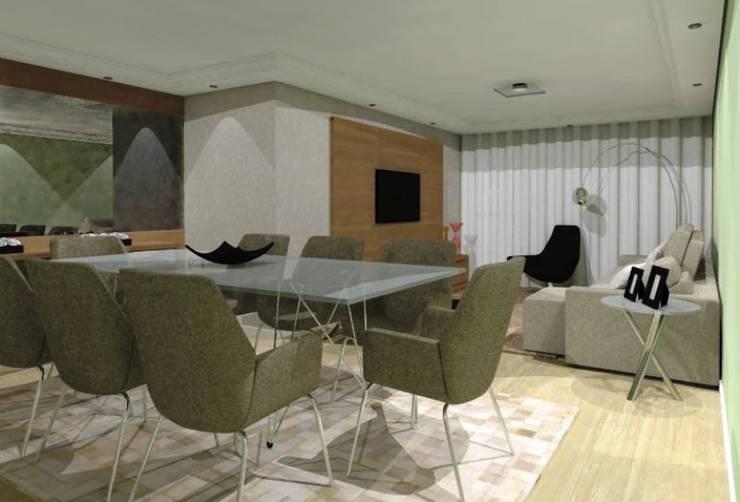 Salas Estar e Jantar LT: Salas de estar  por Nádia Catarino - Arquitetura e Design de Interiores