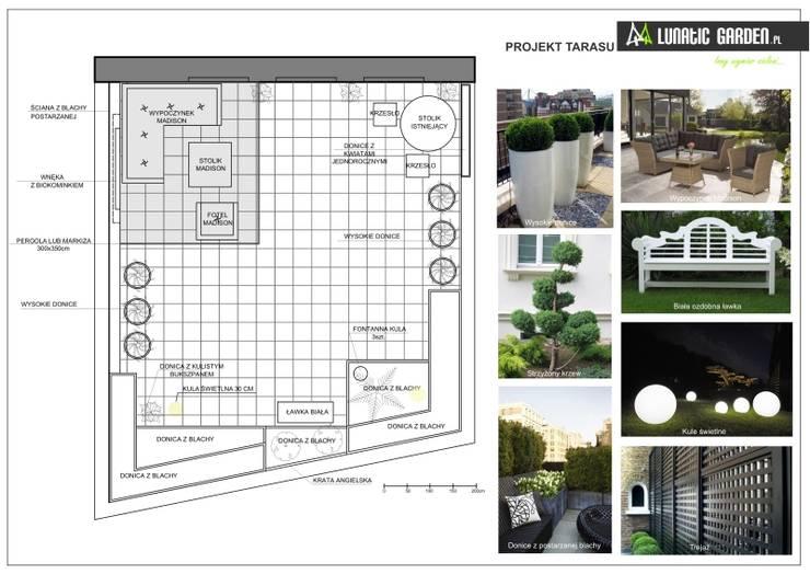 Projekt tarasu : styl , w kategorii Biurowce zaprojektowany przez Lunatic Garden,Klasyczny Matal