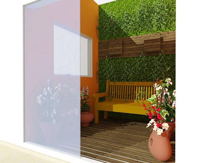 Jardim Interno AH: Jardins de inverno campestres por Nádia Catarino - Arquitetura e Design de Interiores