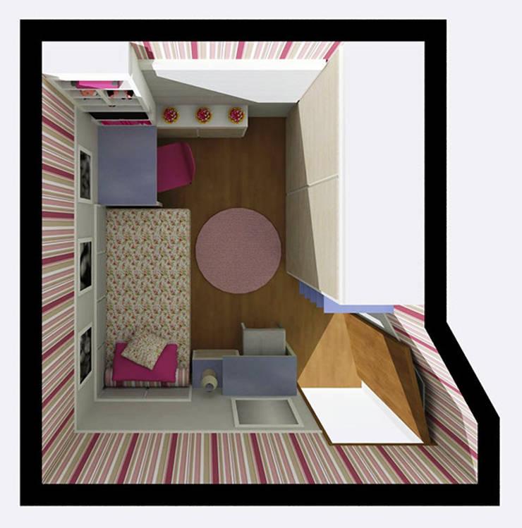 Dormitório Menina LA: Quarto infantil  por Nádia Catarino - Arquitetura e Design de Interiores
