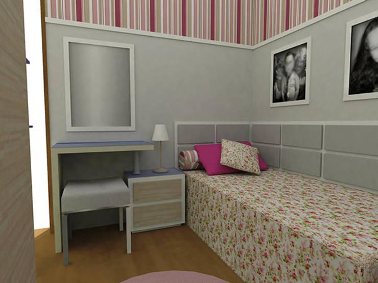 Dormitório Menina LA: Quarto infantil  por Nádia Catarino - Arquitetura e Design de Interiores,Clássico Madeira Efeito de madeira