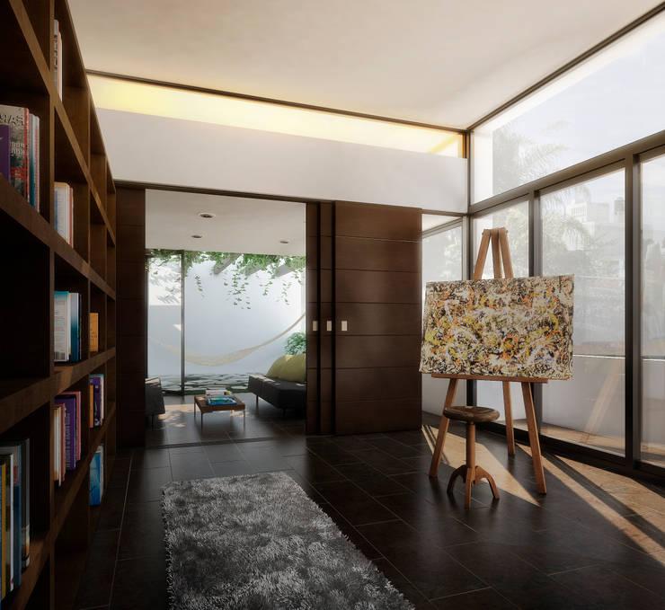 RESIDENCIA JARDINES DEL BOSQUE: Pasillos y recibidores de estilo  por TAQ arquitectura