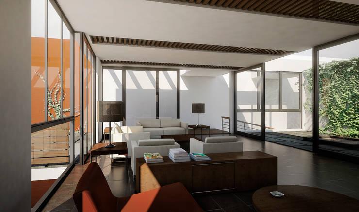 RESIDENCIA JARDINES DEL BOSQUE: Salas de estilo  por TAQ arquitectura