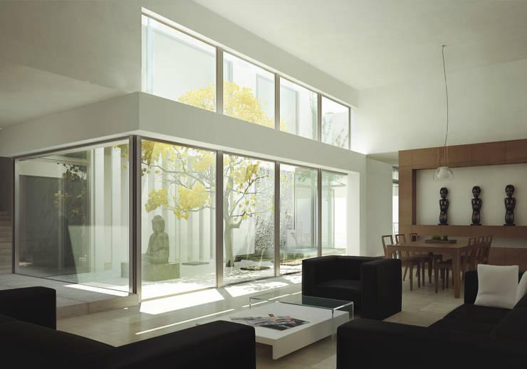 RESIDENCIA CUMBRES: Salas de estilo  por TAQ arquitectura