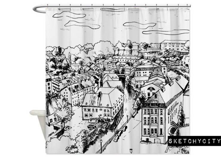 Cortina de baño Sketchy City de Luc*At diseños Minimalista