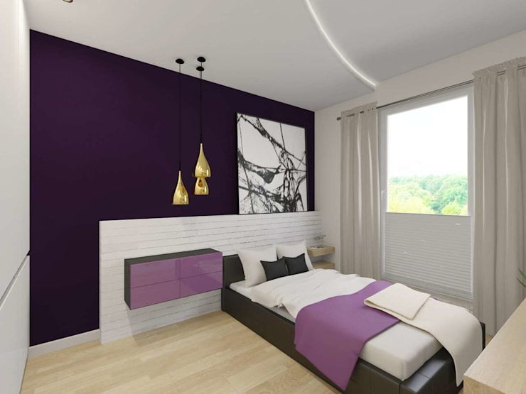 Sypialnia w bieli i fioleci: styl , w kategorii Sypialnia zaprojektowany przez Bohema Design