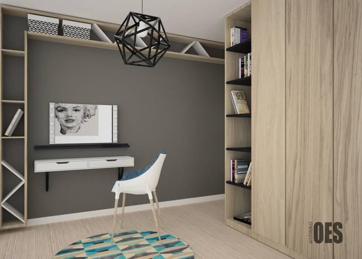 Projekt wnętrz mieszkania w Katowicach: styl , w kategorii Sypialnia zaprojektowany przez OES architekci