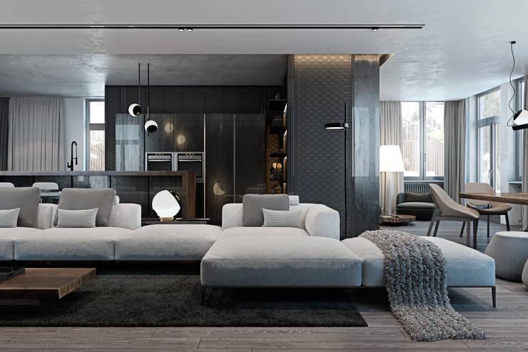 Cozy flat in Kiev centre: Гостиная в . Автор – Diff.Studio