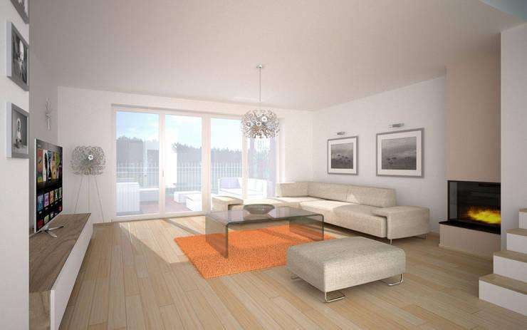 widok pokoju dziennego: styl , w kategorii  zaprojektowany przez renderPLAN