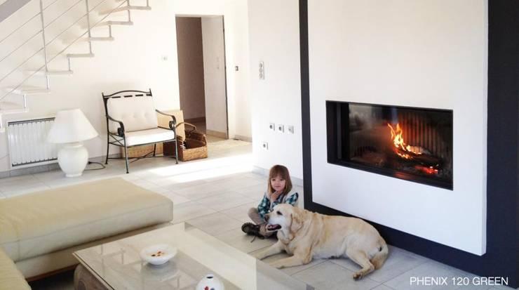 Phenix 120Green - Bodart&Gonay: Salas de estar  por Biojaq - Comércio e Distribuição de Recuperadores de Calor Lda