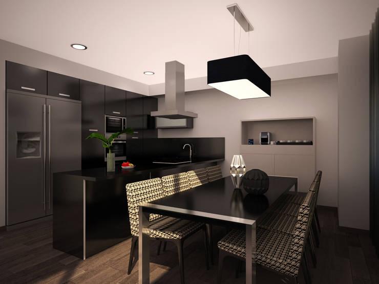 Projecto 3D - Decoração sala estar e jantar - Moradia Alcochete: Sala de jantar  por Mariline Pereira - Interior Design Lda.