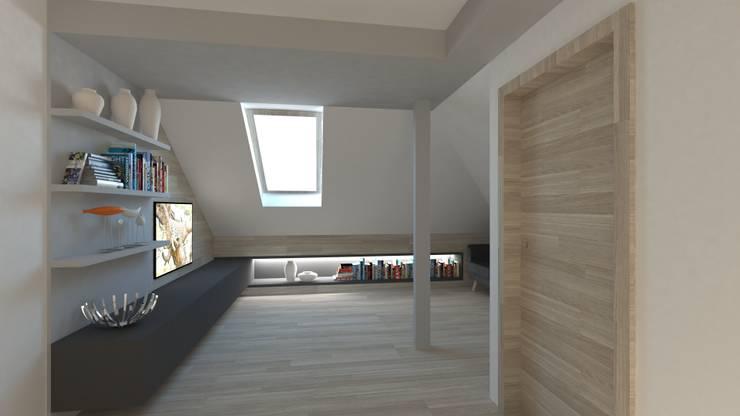 poddasze-strefa multimedialna: styl , w kategorii Pokój multimedialny zaprojektowany przez Gil Architekci